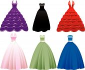 stock photo of sweet sixteen  - Vector Illustration of Formal Gown Dress Icons - JPG