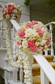 foto of marriage decoration  - Beautiful wedding flower decoration at stairs art design - JPG