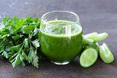 foto of celery  - fresh green juice from celery - JPG
