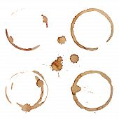 foto of ring  - Vector Coffee Stain Rings Set Isolated On White Background for Grunge Design - JPG