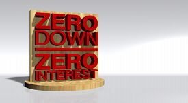 image of zero  - Zero Down Zero Interest on a wooden stand with lots of space for text and images of your choice - JPG