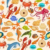pic of creatures  - Vector seamless pattern with fishes - JPG