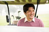 picture of buggy  - Happy golfer driving his golf buggy at the golf course - JPG