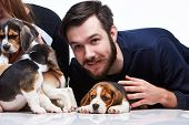 picture of puppy beagle  - The happy man - JPG