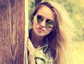 pic of peek  - Pretty Fashion Hipster Girl in Glasses Peeking - JPG