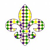 pic of fleur de lis  - Fleur de lis Mardi Gras design EPS 10 vector stock illustration - JPG