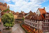 pic of bavaria  - Top view from beautiful Kaiserburg of Fachwerk houses in Nuremberg - JPG