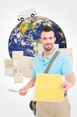 picture of postman  - Postman with letter against logistics concept - JPG