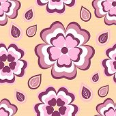 stock photo of orange blossom  - Beautiful stylish seamless pattern orange with stylized pink and red sakura blossom  - JPG