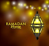 picture of occasion  - Beautiful Elegant Ramadan Kareem Lantern or Fanous Hanging With Colorful Lights in Night Background for the Holy Month Occasion of fasting - JPG