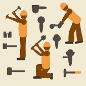 picture of labor  - Construction tools and worker silhouette icons set - JPG