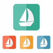 pic of sail ship  - Sail boat icon vector flat ship sign - JPG