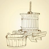 image of wine-press  - Drawing old wooden wine press on background - JPG