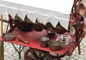 image of flea  - many copper objects for kitchen and home for sale in the antiques stall at flea market - JPG