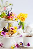 picture of cake stand  - Assorted cakes and pastries on a cake stand for afternoon tea - JPG