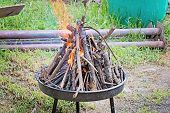 foto of cozy hearth  - Fire in a fireplace in the home celebration outdoor - JPG