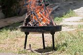 picture of cozy hearth  - Fire in a fireplace in the home celebration outdoor - JPG