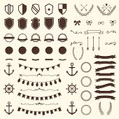 stock photo of bow arrow  - Collection of shields badges and labels - JPG