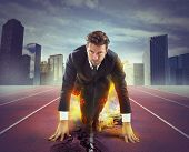picture of fiery  - Fiery and determined businessman ready to compete - JPG