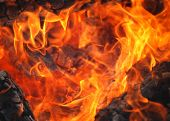picture of ember  - Closeup of wood fire showing flames and embers - JPG