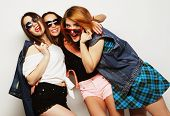 pic of three sisters  - Fashion portrait of three stylish sexy hipster girls best friends - JPG