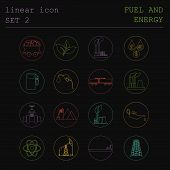picture of fuel tanker  - Outline icon set Fuel and energyl - JPG