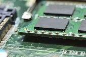 stock photo of controller  - marco random access memory on matherboard  - JPG