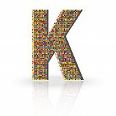 picture of letter k  - Colorful 3D Alphabet Letter K with reflection on white glossy surface - JPG
