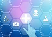 image of ambulance  - The index finger presses on the icon ambulance - JPG