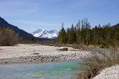 picture of wilder  - river isar and karwendel mountains german wilderness - JPG
