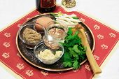 stock photo of passover  - seder plate vor celebrations passover white backgrounds isolated close - JPG