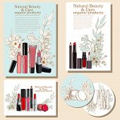 foto of cosmetic products  - set of flyers for cosmetic products - JPG