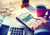 stock photo of marketing plan  - Digital Online Marketing Brand Office Working Concept - JPG