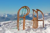foto of toboggan  - two horned sleds in winter wonderland germany - JPG