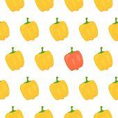 stock photo of yellow-pepper  - Sweet yellow pepper seamless pattern - JPG