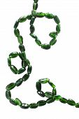 foto of beads  - String of green beads on white background - JPG