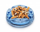 image of butts  - Cigarette butts in the ashtray on white - JPG