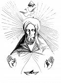 stock photo of glorify  - Religious drawing  - JPG