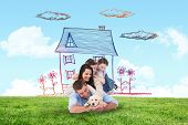 foto of puppies mother dog  - Happy family with puppy against blue sky over green field - JPG