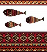 picture of rhombus  - Vector seamless pattern with tribal fish - JPG