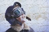 picture of bomber jacket  - Boy dressed up in pilot outfit - JPG