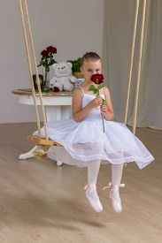 image of fairy tail  - Portrait of little cute ballerina on swing with rose - JPG